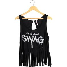Black I Got Swag Fringe Crop Top | $10.50 | Cheap Trendy Blouses Chic Discount Fashion for Women |