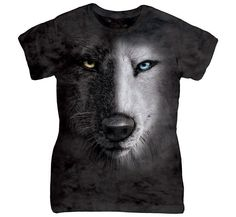 BLACK AND WHITE WOLF FACE CLASSIC LADIES TEE