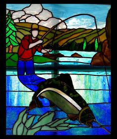 Fly fishing stained glass