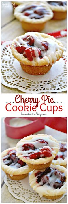 Cherry Pie Cookie Cups are the perfect answer to a cherry pie craving! Cherry Pie meets Sugar Cookie in these delicious, bite-sized Cherry Pie Cookie Cups! roll refrigerated sugar cookie c. can cherry pie c. Mini Desserts, Cherry Desserts, Bite Size Desserts, Cherry Recipes, Cookie Desserts, Easy Desserts, Delicious Desserts, Dessert Recipes, Plated Desserts