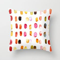 strokes of colors Throw Pillow by Clemm - $20.00