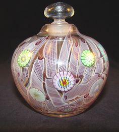 "Orient Flume Perfume Bottle W Stopper 3 3 4"" Tall Signed S Beyers 
