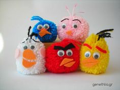 adorable DIY angry birds pom pom