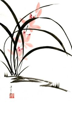 Another sumi-e painting I painted while I was in Japan. Orchids is what I'm the best at - or at least, that's what I think. I just love the simplicity and grace of sumi-e orchids. More to come Enjoy Japanese Ink Painting, Sumi E Painting, Japanese Watercolor, Chinese Painting, Watercolor And Ink, Scrapbooking Image, Chinese Artwork, Japon Illustration, Botanical Illustration