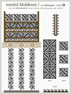 Semne Cusute: septembrie 2013 Folk Embroidery, Embroidery Patterns, Cross Stitch Patterns, Quilt Patterns, Knitting Charts, Knitting Patterns, Embroidery Techniques, Machine Quilting, Bead Crafts