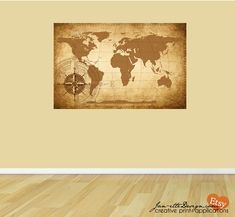 Living room wall decorlarge world map wall decal map fabric wall rustic world map fabric wall decal by janettedesign on etsy 6500 60w x gumiabroncs Gallery