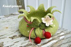 Utensilos & Stoffkörbchen - fruchtige Kirschschale - Zipfelschale - ein Designerstück von Kunstgenuss-IlkaSiebel bei DaWanda
