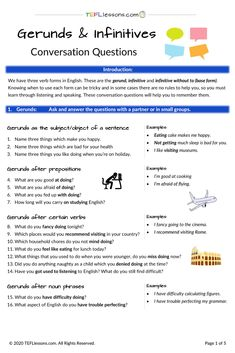 Just one of the many FREE handouts available to download from www.tefllesssons.com.#EnglishGrammar #GerundsandInfinitives #FreeEnglishLesson #teachenglish #learnenglish #tesol #tesl #tefl #elt #esl #efl #teachingenglish #TEFLtimesavers #englishhandouts Free English Lessons, Esl Lessons, Online Lessons, English Games, Learning English, English Grammar, Communication Activities, Grammar Activities, Conversation Questions