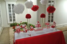 Red and white candy buffet Red Candy Buffet, Candy Table, Grad Parties, Party Planning, First Birthdays, Red And White, Dream Wedding, Reception, Buffet Ideas