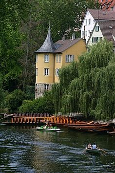 Love this one - Hoelderlin Turm in Tuebingen, Germany with gondolas on the Neckar river below - Explore the World with Travel Nerd Nici, one Country at a Time. http://TravelNerdNici.com
