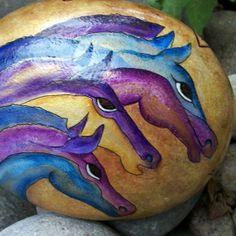 Primitive Wild horses. Tribal Symbols. Home Decor. Handpainted. Original. Rock. Turquoise. Violet. Gold. Gift