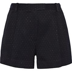 3.1 Phillip Lim Metallic woven shorts (580 PEN) ❤ liked on Polyvore featuring shorts, bottoms, pants, blue, loose fit shorts, loose shorts, blue shorts, woven shorts and blue metallic shorts
