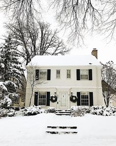 oldfarmhouse:        Christmas may be over but winter is just getting started in the Midwest . This house is a favorite looking oh so majestic next to the oversized pine tree. This was taken three weeks ago when we drove around in the snowfall admiring holiday homes and I meant to post it for #myhousecrushmonday. Its one of our activities to keep winter fun. When I first moved to Minnesota I absolutely hated the cold winter. But one of the many things Ive learned from my husband is that you…