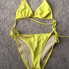 Victoria secret triangle bikini Yellow triangle bikini lined with nude fabric Victoria's Secret Swim Bikinis