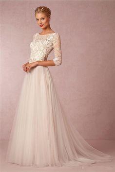 Modest Bohemia Wedding Dress Summer Three Quarter Lace Wedding Dress Country Tulle Beach Bridal Dress Gowns Custom Made