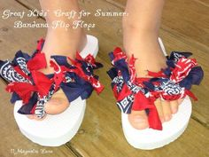 Easy (and inexpensive) bandana flip flops tutorial -- fun summer craft for kids, or a birthday party activity and favor, all rolled into one!