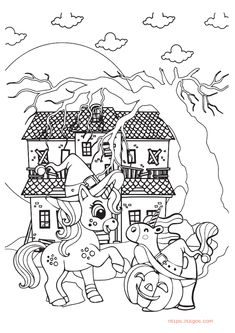 Cute Unicorn and Pumpkin Halloween Coloring Page