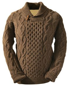 This Aran Shawl Neck Fisherman Sweater captures the spirit of the Aran Islands. The Aran Sweater also known as fisherman sweater enjoys a modern twist the shawl collar design. Gents Sweater, Collar Designs, Mens Jumpers, Pulls, Knitwear, Menswear, Mens Fashion, Knitting, My Style