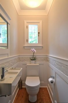 "window, wainscoting with marble or stone with wide border, color combo, add large format (18"" x 36"") light gray floor tile to coordinate with the backsplash and walls"