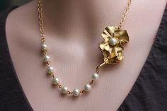 Gold Pearl Flower Necklace Wedding Jewelry Pearl by madebymoe, $42.00