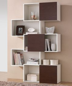 199.99-Baxton Studio White & Walnut Harriette Modern Bookcase | zulily 49.13W X 12.5D X 74.25H