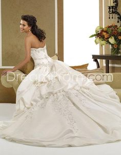 Fabulous A-Line/Princess Strapless Floor-length  Chapel Train Wedding Dresses  (3AA0230)