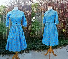 1960's  Blue Cotton Square Dancing Dress X-Small Bandana Vintage Retro 60's Country Prairie Western Rock-A-Billy by Retromomo on Etsy