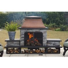 Sunjoy Seneca 24 in. Wood Burning Outdoor Fireplace- The Home Depot Modular Outdoor Kitchens, Outdoor Kitchen Design, Patio Design, Outdoor Spaces, Outdoor Living, Outdoor Decor, Outdoor Kitchen Plans, Backyard Designs, Outdoor Cooking