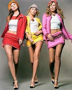 Nikki Taylor, Nadja Auermann and Claudia Schiffer wearing sherbet-coloured Chanel suits, photographed by Steven Meisel for Vogue, 1994