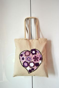 Canvas Tote bag Heart flowers canvas tote by Lemiecreazionidarte
