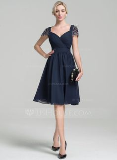 A-Line/Princess Sweetheart Knee-Length Ruffle Beading Sequins Zipper Up Sleeves Short Sleeves No Dark Navy General Plus Chiffon Mother of the Bride Dress