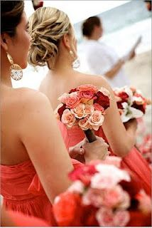 Love the salmon, coral and bright red color palette - somewhat unusual but so stunning!