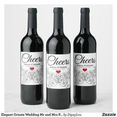 """Personalised 12.7cm x 8.4cm /""""Our First/"""" Set of 4 Wedding Gift Wine Labels"""