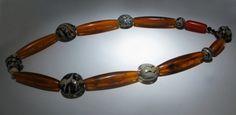 "Marianne Kohler - ""Necklace,"" blown borosilicate glass, bone, baccalithe"