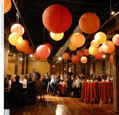 Lanterne orange deco , lampion mariage deco orange