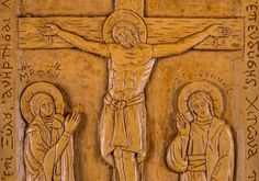 Crucifixion of Jesus aromatic wall icon made with pure beeswax, mastic and incense from Mount Athos. Crucifixion Of Jesus, Jesus Christ, Christian Gifts, Wall Plaques, Incense, Hand Carved, Vintage World Maps, Carving, Pure Products