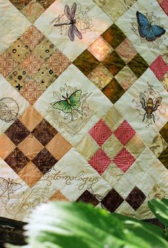 A new project from the Urban Threads lab, featuring a gorgeous quilt with new Entomology inspired embroidery designs. Includes a FREE pdf pattern. Embroidered Quilts, Embroidery Monogram, Machine Embroidery Applique, Diy Embroidery, Embroidery Patterns, Quilt Patterns, Butterfly Embroidery, Nine Patch Quilt, Small Quilts