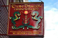 Outside shots of businesses in Livingston, Montana. Twin Dragon Chinese Restaurant.