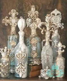 ONE OF A KIND Michelle Butler Designs Decorative Bottles Handpainted & Drenched In Jewels Contact Us For Pricing & Customization 💕SHOP💕 www. Glass Bottle Crafts, Wine Bottle Art, Painted Wine Bottles, Diy Bottle, Vintage Bottles, Bottles And Jars, Perfume Bottles, Bead Bottle, Bottle Lamps
