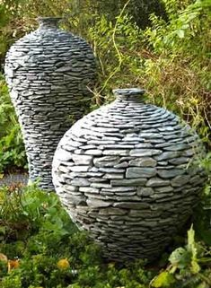 Stone pottery for outdoor garden ideas: