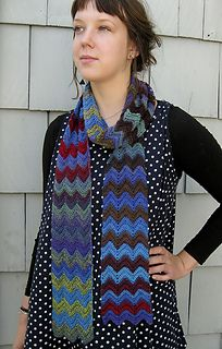 This is more of a recipe to create a scarf that has Missoni-like stripes than an actual pattern. I used a variation of the well-known wave stitch, also known as chevron stitch or ripple stitch. There are many kinds of these stitches that use increases and decreases to create the characteristic wave effect. Any one of these type of stitches can be used to make this scarf. The pattern gives directions for a chevron stitch.