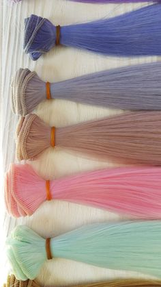 Straight Hair for dolls by DollsForKids. Synthetical Tress unicorn hair for doll making. Hair for making doll wigs, Art dolls, Blythe doll, Barbie and Fashion Royalty Blythe Dolls, Girl Dolls, Doll Hair Detangler, Doll Making Tutorials, Doll Makeup, Doll Wigs, Unicorn Hair, Hair Weft, Waldorf Dolls