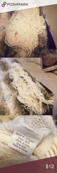 Cream Scarf Purchased online from Victoria's Secret. Can be worn several ways: long, short, wrapped, infinity, etc. Accessories Scarves & Wraps