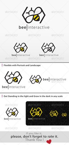 Bee Logo — Photoshop PSD #logo #interactive logo • Available here → https://graphicriver.net/item/bee-logo/8047047?ref=pxcr