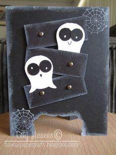 Handmade Greeting Card Happy Halloween Ghosts by