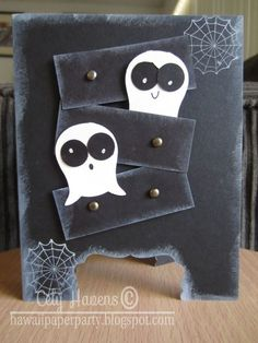 Handmade Greeting Card Happy Halloween Ghosts by