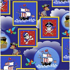 Dead Mans Cove - Pirates - Henry Glass - 1/2 yard - 100% Cotton Quilt Fabric
