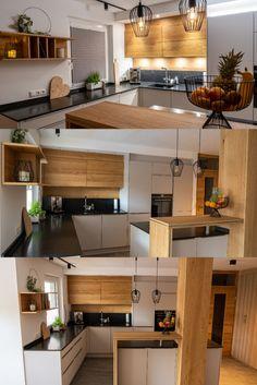 Das Element Holz findet sich in Kombination mit Grau in dieser Kundenküche wieder. #küchen #küchenideen #kücheninsel Kitchen Island, Interior, Table, Diy, Furniture, Home Decor, Grey, Timber Wood, Island Kitchen
