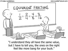 Great Cartoon for having conversations about Math Common Core Equivalent Fractions Math Quotes, Math Memes, Math Humor, Math Puns, Maths, Calculus Humor, Teaching Fractions, Math Fractions, Teaching Math