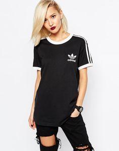 Adidas Originals 3 Stripe T Shirt Black Retro M